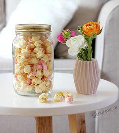 Pasen, Lente, popcorn, lekkernij, recept, recepten, witte chocolade, popcorn met snoep