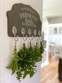 Recycled Silverware Wall Hooks For Dying Herbs which is a feature for Waste Not Wednesday-222 by Interior Frugalista   www.raggedy-bits.com Herb Rack, Herb Drying Racks, Drying Herbs, Kitchen Herbs, Kitchen Decor, Diy Candles Easy, Recycled Silverware, House Plaques, Hanging Herbs