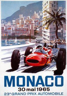 AV92 Vintage 1965 23rd Monaco Grand Prix Motor Racing Poster Re-print A3
