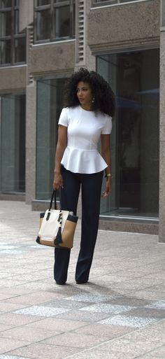 White Collar Glam, Charlotte, NC, attorney outfit, black attorney, mixed girl, professional clothes, work outfit, work clothes, office outfits, workwear, natural curls, curly hair, wash and go, natural hair, women's work wardrobe, black blogger, photography, mixed model, corporate photography, business casual, white blouse, white peplum, white peplum shirt, navy pants, wide leg pants, Steve Madden purse