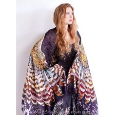 Owl wings scarf, bohemian bird feathers shawl, Night owl, hand... (90 AUD) via Polyvore featuring accessories, scarves, bohemian scarves, shawl scarves, boho scarves, feather shawl and owl scarves
