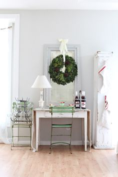 Christmas Decor Ideas : Dreamy Whites: Stockings Made From French Linens, Mangle Cloth, and Antique European Grain Sacks and a Giveaway New York Christmas, Noel Christmas, Simple Christmas, Christmas Wreaths, Christmas Decorations, White Christmas, Vintage Christmas, Christmas Vignette, Christmas Entryway
