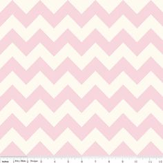 Riley Blake Medium Cream and Baby Pink Chevron by Fabrics4Any1,