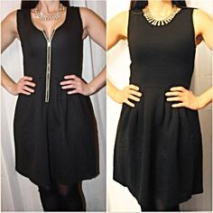 Black Fit & Flare Convertible Dress w/ gold zip This adorable black dress is such an amazing quality and soft warm dress. What is so wonderful about this dress is it is a convertible dress which means it can be worn with the zipper in the front for a sexy cocktail dress or it can be worn with the zipper in the back for a more conservative look. A huge staple for any closet. Has black quilt like pattern on the dress and gold tone zipper. Fits true to size and fitted on top and flared in…