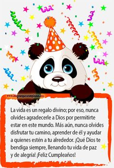 Birthday greeting postcard with a panda Happy Birthday Notes, Happy Birthday Greetings, Birthday Images, Birthday Quotes, Happy B Day, E Cards, Special Day, Party Supplies, Congratulations