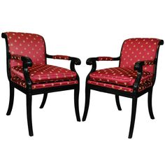 Pair of Vintage Ebonized French Neoclassical / Empire Style Klismos Armchairs | 1stdibs.com