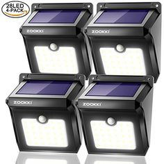 Solar Motion Sensor Lights Outdoor, ZOOKKI 28 LEDs Waterproof Solar Powered Wall Lights, Wireless Security Night Lights for Outdoor Garden Patio Yard Deck Garage Driveway Porch Fence 4 Pack - Gran Driveway Lighting, Backyard Lighting, Outdoor Lighting, Solar Flood Lights, Solar Wall Lights, Solar Powered Security Light, Solar Powered Lights, Motion Lights Outdoor, Mini Solar Panel