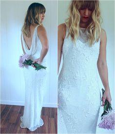 Stunning Low Back White Vintage Beaded Wedding by saltontherocks