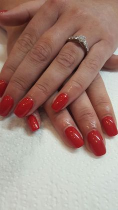Classic red gel nails