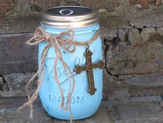 Scripture Jar, Turquoise with Chalkboard Lid