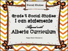 Social Studies I Can Statements - Alberta Grade 4 I Can Statements, Social Studies, Teaching Resources, Curriculum, Chevron, Study, Teacher, Posters, Messages