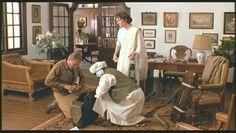 """""""Out of Africa"""" - Klaus Maria Brandauer (as Baron Bror Blixen) & Meryl Streep (as Karen Blixen) on set with British Colonial furnishings, inspired by arthor, Karen Blixen's 1917 coffee plantation home in Kenya."""