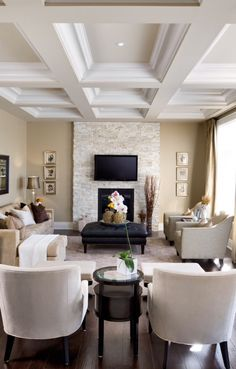 Victorian living room w/ wall mounted TV on stone chimney breast                                                                                                                                                     More