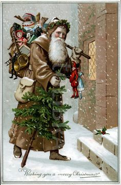 Victorian Father Christmas in the snow