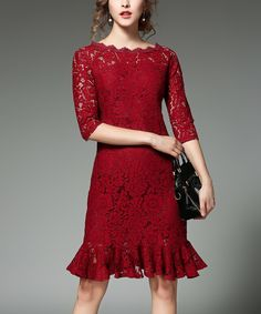 Take a look at this Coeur de Vague Wine Ruffle Lace Three-Quarter Sleeve Dress today!