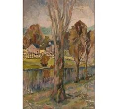 """Opal O\'Brien Shuman; \""""Tall Tree\"""", post impressionist style, oil on board.  30\"""" x 19 1/2\"""".  Signed lower right.  Self-taught Hoosier Salon artist from Anderson, Indiana."""