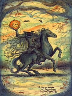 The Headless Horseman Sleepy Hollow. Celebrate Halloween with a signed print made from one of my favorite originals. Happy Halloween Always! Halloween Print Signed By Artist, John Randall York. Vintage Halloween Images, Retro Halloween, Halloween Prints, Halloween Pictures, Happy Halloween, Halloween Painting, Halloween Ideas, Sleepy Hollow New York, Legend Of Sleepy Hollow