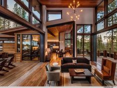 Home Design Modern rustic mountain home - Modern Mountain Homes to Take You Away Mode Modern Lodge, Modern Mountain Home, Mountain Homes, Modern Ranch, Modern Cabins, Mountain Home Interiors, Mountain Living, Tiny Cabins, Modern House Design