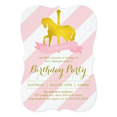 Pink Birthday Invitations Pink Carousel Horse Birthday Party Card