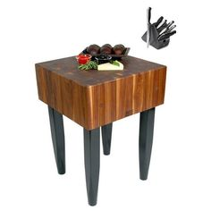 John Boos 30x24 Walnut Butcher Block Table With Casters And J.A. Henckels 13-piece Knife Set (John Boos 30), Black (Wood)