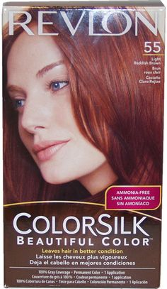 unisex revlon colorsilk beautiful color #55 light reddish brown hair color