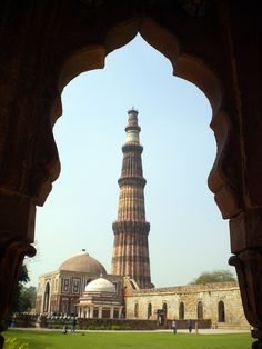 Qutub Minar (also Qutab or Qutb) ... the amazing, tallest minaret tower in India (about 240 feet) dating from 1192, New Delhi.