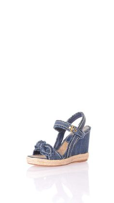 Car Shoe Jeans wedge sandals, 11 cm wedge, 3 cm rope plateau, ankle belt closure, rope fabric lining, leather sole.