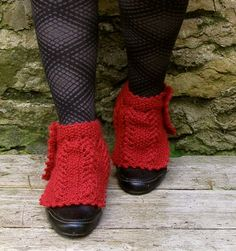 Knit shoe spats Red wool ankle warmers Unique by echocraftings