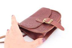 Vintage small leather bag purse Folk art Tiny leather purse