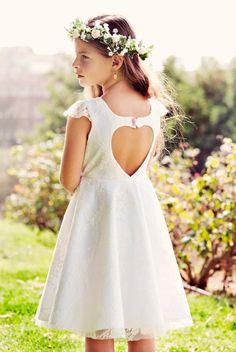 Corazón de la muchacha de flor blanco encaje de Novia de corte vestido para las niñas