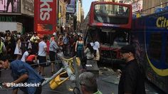 Double-decker buses collide in New York City's Times Square