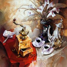 """fravery: """" """"Coffee Talk"""", by Nathan Brutsky """" Coffee And Books, Coffee Art, My Coffee, Decoupage, Still Life Art, Fashion Painting, Photo Illustration, Illustrations, Contemporary Decor"""