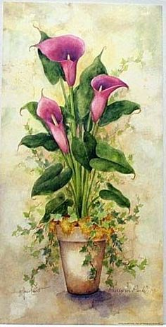 ,: Arte Floral, Deco Floral, China Painting, Tole Painting, Watercolor Flowers, Watercolor Paintings, Decoupage Paper, Calla Lily, Botanical Art