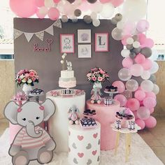 Baby Girl Shower Themes, Girl Baby Shower Decorations, Baby Shower Princess, Baby Shower Fun, Decoracion Baby Shower Niña, Peanut Baby Shower, Girl Birthday Decorations, Elephant Baby Showers, Floral Baby Shower