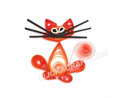 "CLICK A CRAFT | Step-by-step Instructions for an Art Craft | Quilling Card ""Red Kitten"""