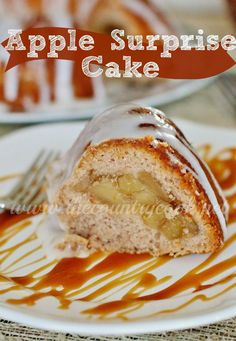 "Apple Surprise Cake | Just 4 ingredients! My family went nuts for this! And it's fun to cut into to see the ""surprise""- perfect for fall! 