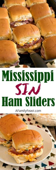 Sin Ham Sliders Mississippi Sin Ham Sliders - Delicious ham sliders with a zesty cheesy topping - just like the Mississippi Sin Dip! Sin Ham Sliders - Delicious ham sliders with a zesty cheesy topping - just like the Mississippi Sin Dip! Ham Sliders, Slider Sandwiches, Steak Sandwiches, Tacos, Tostadas, Slider Recipes, Burger Recipes, Pork Recipes, Sausage Recipes