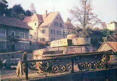 """Destroyed Tiger tank"" (Wrong! It's a Panzer IV with side armour)."