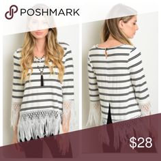 30% Off Bundles! Black & White Striped Fringe Top 🎉Host Pick Street Style🎉 Funky and fun! This top mixes nautical stripes with a flirty fringe. Pairs with jeans, leggings, or a mini. Made of 65% cotton and 35% polyester. Comes in small, medium, and large. Tops Tees - Long Sleeve