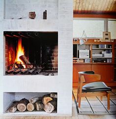 Private home of the Danish furniture designer Børge Mogensen in Gentofte, Denmark Danish Interior, Firewood Storage, Danish Furniture, Modern Love, Scandinavian Living, Danish Design, Home And Living, Interior Inspiration, Decoration