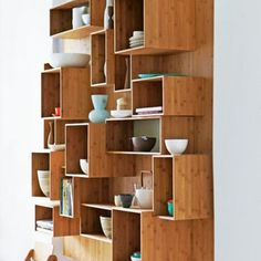 danish kitchen design - love the open shelves Kitchen Furniture, Furniture Design, Cafe Furniture, Shelf Furniture, Bamboo Furniture, Danish Kitchen, Kitchen Shelves, Box Shelves, Wall Shelves