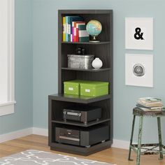 Bookcase Audio Stand Storage Shelves Display Contemporary Espresso Modern New #Doesnotapply #ContemporaryModern #Bookcase #Storage #Shelves #Furniture #ModernFurniture