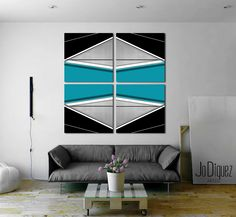 "Customizable abstract painting. Canvas art. Blue painting. Modern wall art. Huge painting. Geometric art. Living room piece 50x50"" (370.00 USD) by JoDiquez"