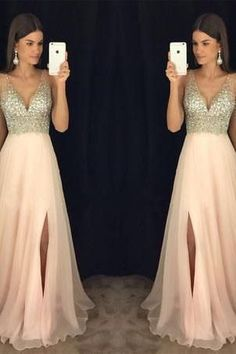 Modest sparkly crystal beaded v-neck open back long chiffon pageant slit Prom Dresses uk PM846