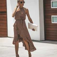 Mommy & Baby Chic Dress, Matching Fashion, Shop Brown Cotton Polka Dot Print Sleeveless Chic Women Hi-Lo Midi Dress online. Polyvore Outfits, Polyvore Dress, Casual Summer Dresses, Look Fashion, Latest Fashion, Fashion Women, Retro Fashion, Dot Dress, Ruffle Dress