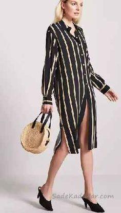 Gömlek Elbise Son Moda Şık Elbise Modelleri Siyah Dizboyu Uzun Kollu Çizgili Önden Düğmeli