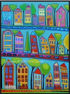 colorful houses/ Archival Print from my Acrylic painting/ wall art/ Nursery decor/ Room decor