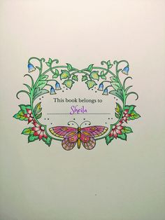 Ivy And The Inky Butterfly Johanna Basford Nameplate Colored By Me 10 16 17