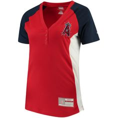 Women's Los Angeles Angels of Anaheim Majestic Red League Diva Snap Placket T-Shirt