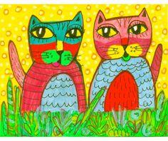 Cat Art, Whimsical Art, Funny Cat Print, Art For Kids, Cat Wall Art, Children's Room Decor by Paula DiLeo on Etsy, $10.00